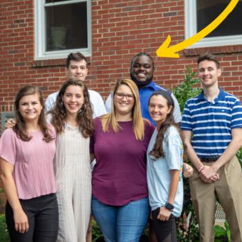 Group photos of interns with an arrow to Jordan